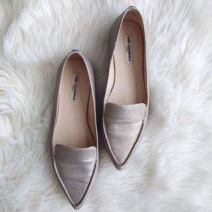 Karl Lagerfeld Metallic Pointed Toe Flats